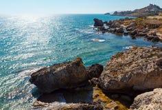 Morze plaża blisko Rocca Di San Nicola, Agrigento, Sicily, Włochy Obraz Royalty Free