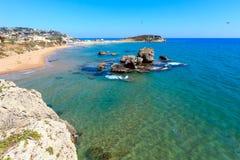 Morze plaża blisko Rocca Di San Nicola, Agrigento, Sicily, Włochy Zdjęcia Royalty Free