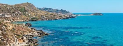Morze plaża blisko Rocca Di San Nicola, Agrigento, Sicily, Włochy Zdjęcie Stock