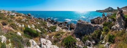 Morze plaża blisko Rocca Di San Nicola, Agrigento, Sicily, Włochy Fotografia Royalty Free