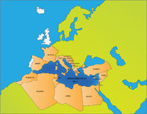 Morze Śródziemnomorskie kraje Obraz Stock