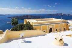Morze Śródziemnomorskie z statku i wyspy widokiem od dachu Zdjęcie Stock