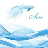 Morze ryba i fala Obraz Stock
