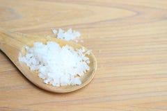 Morze sól na drewnianej kopyści obraz stock