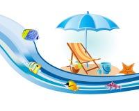 Morze, słońce i lata tło, Ilustracji