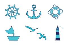 Morze set, latarnia morska, kierownica, żeglowanie statek, życie pierścionek, kotwica, frajery Wszystkie przedmioty zrobią w wekt Zdjęcia Royalty Free