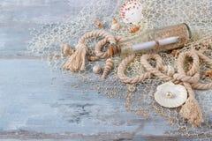 Morze skorupy w fishnet Zdjęcia Royalty Free