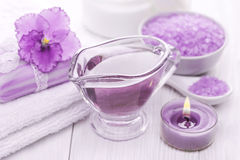Morze solankowi i istotni oleje, purpurowy fiołek Zdrój Obraz Royalty Free