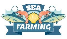 Morze Uprawia ziemię Aquaculture, obrazkowa wektorowa logo odznaka ilustracji