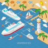 Morze urlopowy i statku pojęcie Zdjęcie Royalty Free