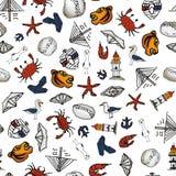 Morze wzór Z małymi rysunkami wokalnie Obraz Stock