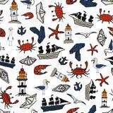 Morze wzór Z małymi rysunkami wokalnie Obraz Royalty Free