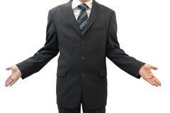 Mãos abertas da exibição do homem de negócio, conceito que se importa, assim que Fotos de Stock Royalty Free