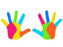 Mãos coloridas dos miúdos Imagens de Stock Royalty Free
