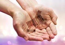 Mãos com códigos de barras Fotos de Stock Royalty Free