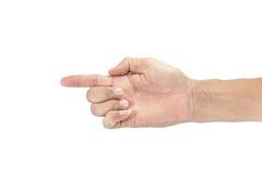 Mãos com dedos Ásia masculina em um fundo branco, com grampeamento Foto de Stock