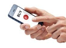 Mãos da compra de Smartphone do negócio Imagens de Stock