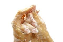 Mãos da fêmea do sabão Fotografia de Stock Royalty Free