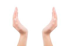 Mãos da mulher que mantêm algo invisível Imagem de Stock Royalty Free