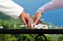 Mãos da noiva e do noivo Fotos de Stock