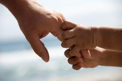 Mãos da terra arrendada do pai e do filho Imagem de Stock