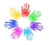 Mãos das crianças na escola Fotos de Stock