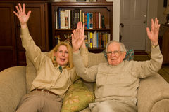 Mãos de Hooray acima Fotos de Stock Royalty Free