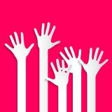 Mãos de votação - o papel cortou as mãos e os braços da palma ajustados Imagens de Stock