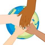 Mãos diversas do globo da ecologia Fotos de Stock