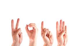 Mãos do homem que formam o número 2014 Imagens de Stock