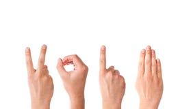 Mãos do homem que formam o número 2014 Fotografia de Stock Royalty Free