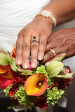 Mãos e anéis do casamento no ramalhete tropical Fotografia de Stock