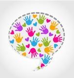 Mãos e corações do discurso Fotografia de Stock Royalty Free
