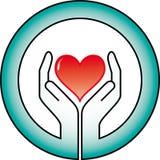Mãos e coração Fotografia de Stock