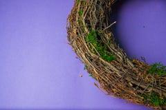 Mos en houten kronen Stock Foto