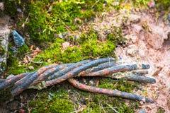 Mos en metaal oude versleten kabel stock afbeelding