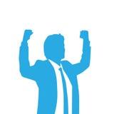 Mãos entusiasmado da posse da silhueta do homem de negócio acima Fotografia de Stock