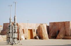 Mos Espa星际大战影片在撒哈拉大沙漠,突尼斯设置了 免版税库存照片