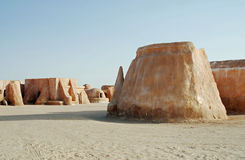 Mos Espa Star Wars-film in Sahara Desert wordt geplaatst die stock fotografie