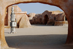 Mos Espa Star Wars film set in Sahara Desert, Tunisia. The old Mos Espa Star Wars film set near Tozeur, Tunisia in the Sahara Desert Royalty Free Stock Image