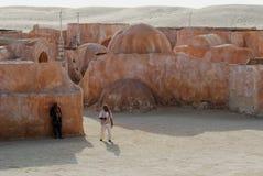 Mos Espa Star Wars filmuppsättning i Sahara Desert Arkivfoto