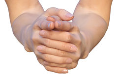 Mãos fêmeas com dedos bloqueados Imagens de Stock Royalty Free