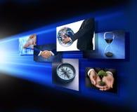 Mãos globais da estratégia de marketing do negócio Foto de Stock Royalty Free