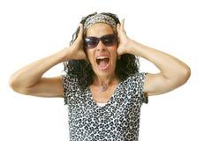 Mãos gritando da mulher à cabeça Imagens de Stock