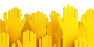 Mãos humanas de votação isoladas Imagens de Stock
