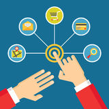 Mãos humanas - ilustração do conceito do toque com ícones no estilo liso do projeto Fotografia de Stock Royalty Free