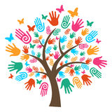 Mãos isoladas da árvore da diversidade Fotografia de Stock Royalty Free