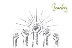 Mãos levantadas tiradas mão com punhos apertados Foto de Stock Royalty Free
