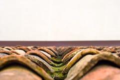 Mos op betegeld dak Oud die dak met mos wordt behandeld Architectuur royalty-vrije stock fotografie