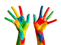 Mãos pintadas, divertimento colorido. Isolado Imagem de Stock